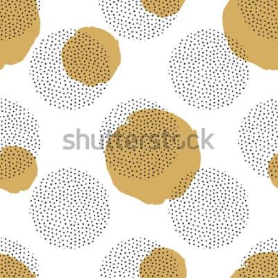 Adesivo Reticolo senza giunte con elementi punteggiati rotondi e cerchi dorati. Trendy sfondo di Memphis.