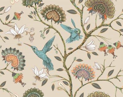 Adesivo Reticolo senza giunte con fiori e uccelli stilizzati. Giardino fiorito con colibrì e piante. Carta da parati floreale leggera. Design per tessuto, tessuto, carta da parati, copertina, carta da imballa