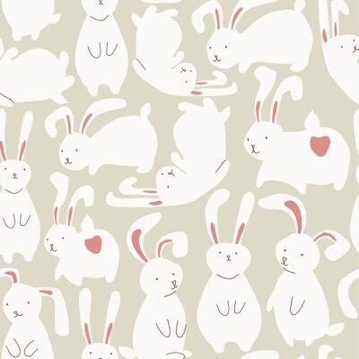 Adesivo Reticolo senza giunte con i conigli bianchi carini