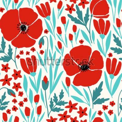 Adesivo Reticolo senza giunte con i fiori rossi del papavero