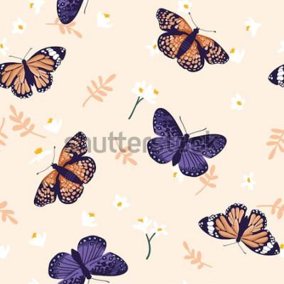 Adesivo Reticolo senza giunte con le farfalle luminose. Disegnata a mano trama design