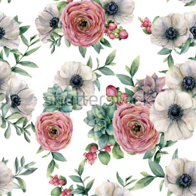 Adesivo Reticolo senza giunte dell'acquerello con succulente, ranuncolo, anemone. Fiori dipinti a mano, foglie di eucaliptus e succulente ramo isolato su sfondo bianco. Illustrazione per design, stampa o