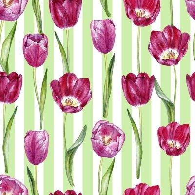 Adesivo Reticolo senza giunte dell'acquerello disegnato a mano con i tulipani