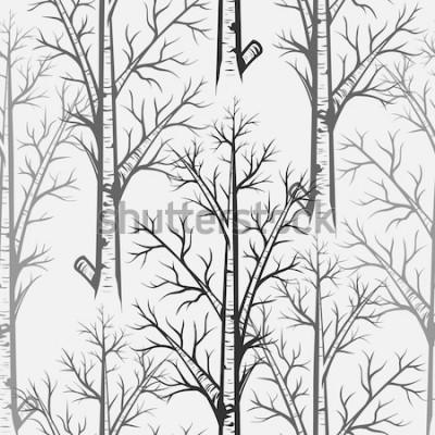 Adesivo Reticolo senza giunte dell'albero di betulla grigia