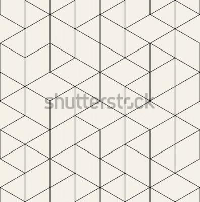 Adesivo Reticolo senza giunte Texture moderna ed elegante con traliccio monocromatico. Ripetendo la griglia triangolare geometrica. Grafica semplice Geometria sacra alla moda hipster.