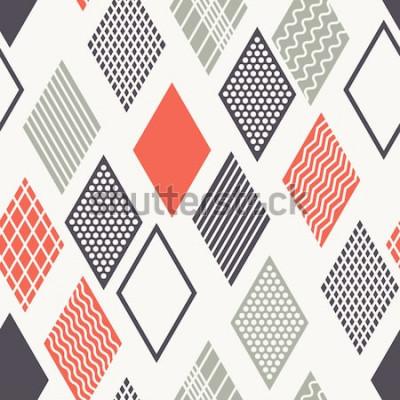 Adesivo Reticolo senza giunte Texture moderna ed elegante. Ornamento geometrico con rombi colorati