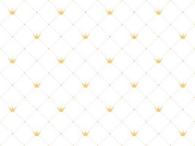 Adesivo Reticolo senza soluzione di continuità in stile retrò con una corona d'oro e puntini rosa polka su sfondo bianco. Carta da parati carina per piccole principesse.