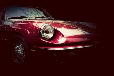 Adesivo Retro auto d'epoca su sfondo scuro. Vintage, elegante