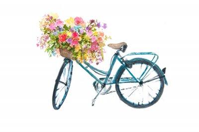 Adesivo Retro bicicletta blu con fiore su sfondo bianco, acquerello illustratore, arte bici