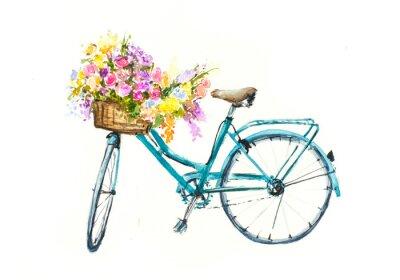Adesivo Retro bicicletta blu con fiori nel carrello su isolamento bianco, mano acquerello disegnata su carta