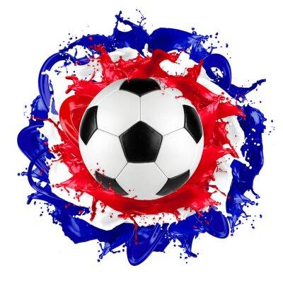 Adesivo retrò pallone da calcio bandiera francese spruzzata di colore