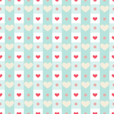 Adesivo Retro seamless pattern with small hearts on gingham background