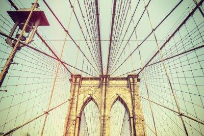 Adesivo Retro tonica immagine del ponte di Brooklyn, New York.