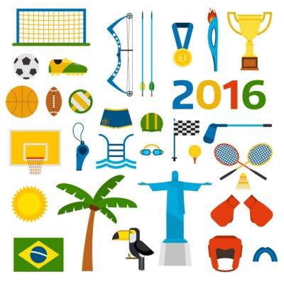 Adesivo Rio Olimpiadi estive icone illustrazione vettoriale