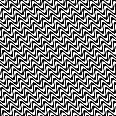 Adesivo Ripetendo il modello onda in bianco e nero