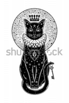 Adesivo Ritratto di sagoma gatto nero con chiave segreta sullo sfondo della luna. Sfondo di Halloween ideale, arte del tatuaggio, design boho. Perfetto per stampe, poster, t-shirt, tessuti. Illustrazione vett