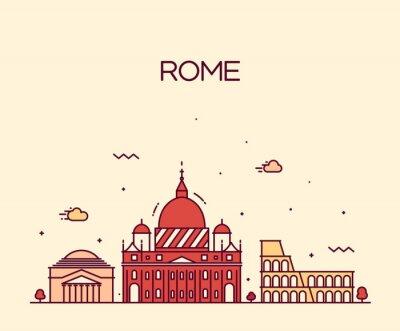 Adesivo Roma City skyline stile art dettagliate linea vettoriale