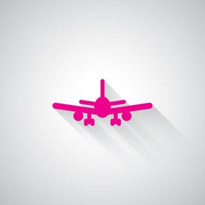 Adesivo Rosa icona aeroplano web su sfondo grigio chiaro