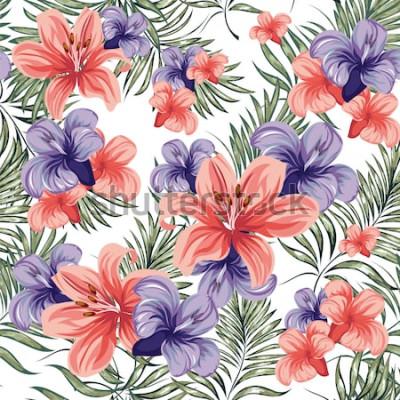 Adesivo Rose. Piante fiorite primavera-estate fiori. Modello senza soluzione di continuità Immagine vettoriale.