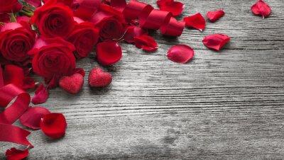 Adesivo Rose su tavola di legno
