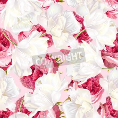 Adesivo Rose tulip seamless pattern
