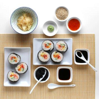 Adesivo Rotoli di sushi, salsa di soia, zenzero e wasabi