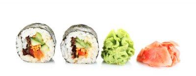 Adesivo Rotoli di sushi vegetariano isolati su bianco