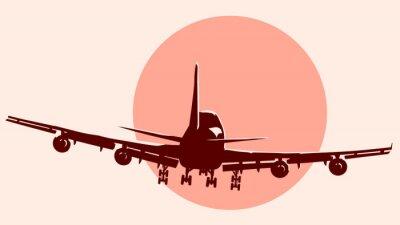 Adesivo Rotondo logo illustrazione di aeroplano volare.