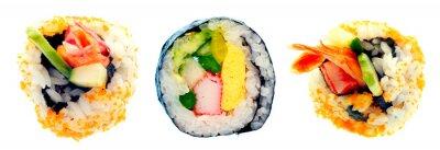Adesivo Rullo di sushi con riso isolato su sfondo bianco