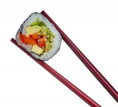 Adesivo Rullo di sushi in bacchette isolato su sfondo bianco