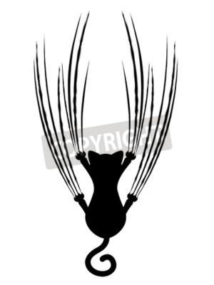 Sagoma Gatto Stilizzato Con Graffi Artiglio Segni Adesivi Per Il