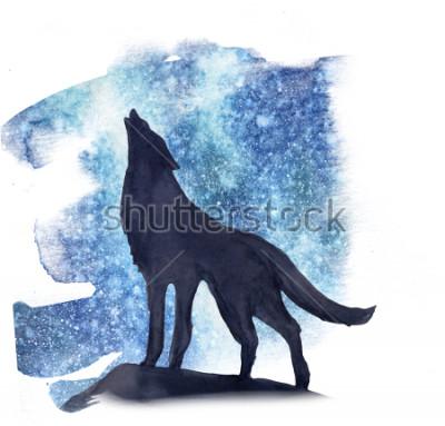 Adesivo sagoma lupo sullo sfondo dell'acquerello aurora boreale. Aurora boreale