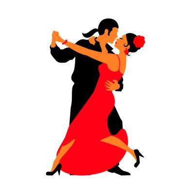 Adesivo Sagome delle coppie danza danze ballroom. Tango