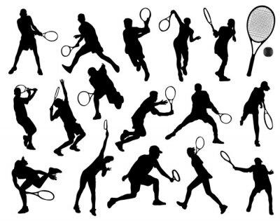 Adesivo Sagome nere di giocatore di tennis, vettore