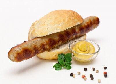 Adesivo Salsiccia alla griglia in un rotolo di pane
