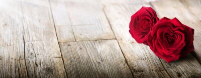 Adesivo San Valentino Card - la luce solare su Due Rose In Love