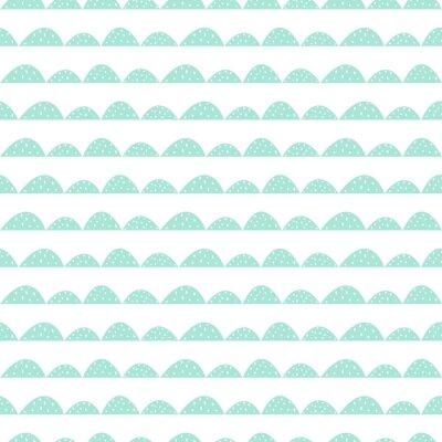 Adesivo Scandinavian modello menta senza soluzione di continuità in stile disegnato a mano. filari di collina stilizzati. Motivo a onde semplice per il tessuto, tessile e biancheria per neonati.