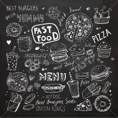 Adesivo Scarabocchi di fast food. Simboli e oggetti vettoriali disegnati a mano