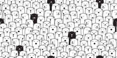 Adesivo Scarabocchio senza cuciture della carta da parati di ripetizione del fondo delle mattonelle dell'illustrazione del fumetto isolata sciarpa della razza dell'orso polare di vettore del modello dell'orso