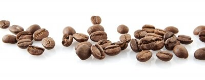 Adesivo Scattered coffee beans in line on white