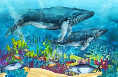 Adesivo scena del fumetto con la balena vicino alla barriera corallina - illustrazione per bambini