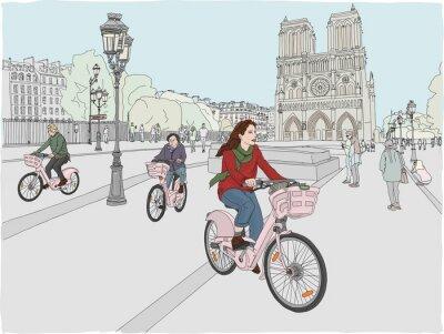 Adesivo Scena della città di Parigi. A una donna piace andare in bicicletta attraverso la città, di fronte alla famosa Cattedrale di Notre Dame. Illustrazione disegnata a mano