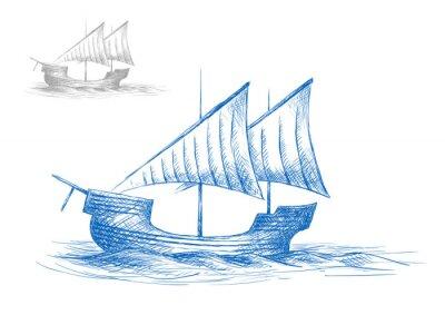 Adesivo Schizzo del vecchio veliero medievale