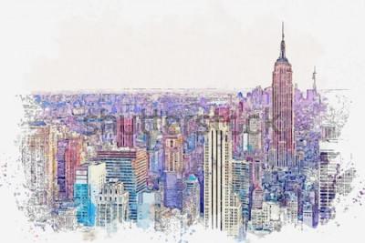 Adesivo Schizzo dell'acquerello o illustrazione di una splendida vista di New York City con grattacieli urbani. Paesaggio urbano o skyline urbano.
