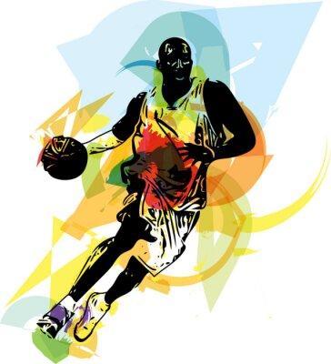 Adesivo Schizzo di giocatore di basket