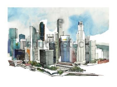 Adesivo Schizzo panoramico dell'acquerello della città di Singapore. Sagoma skyline della città. Disegnare a mano con architettura. Illustrazione colorata della città d'affari per cartoline, magliette