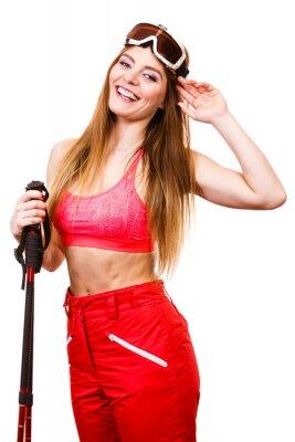 Adesivo Sciatore della donna in googles con bastoncini da sci. Sport invernali