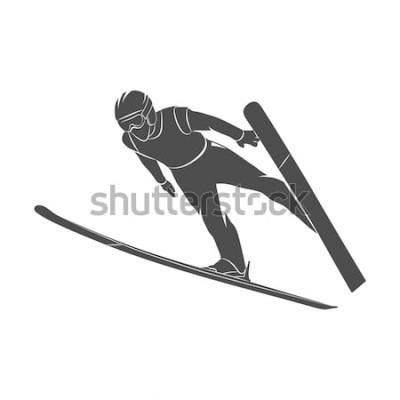 Adesivo Sciatore di salto della siluetta su una priorità bassa bianca. Illustrazione fotografica.