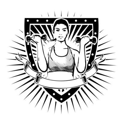 Adesivo scudo fitness donna