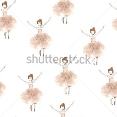 Adesivo Seamless background with watercolor elegant ballet dancers. Hand painted elements. Decorative pattern for web, wallpaper, textile, clothing, fabric, scrapbook, stationery, home decor.